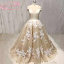 SuperKimJo Off the Shoulder Champagne Prom Dresses 2018