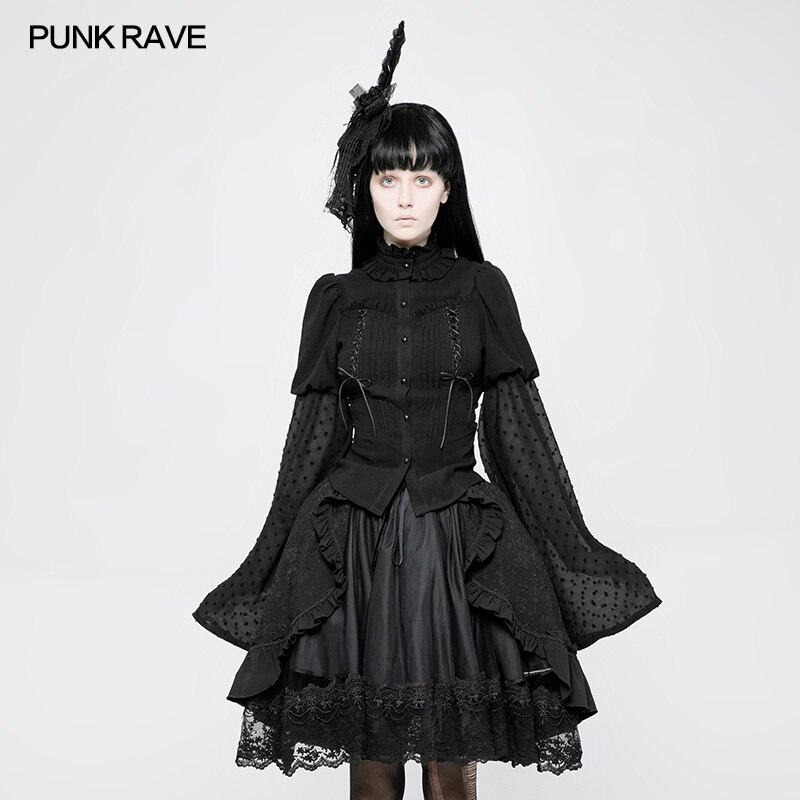 Lolita Punk Rock Fashion Ribbon Butterfly Knot Trumpet Sleeve Shirt Tops Cospolay WLY075