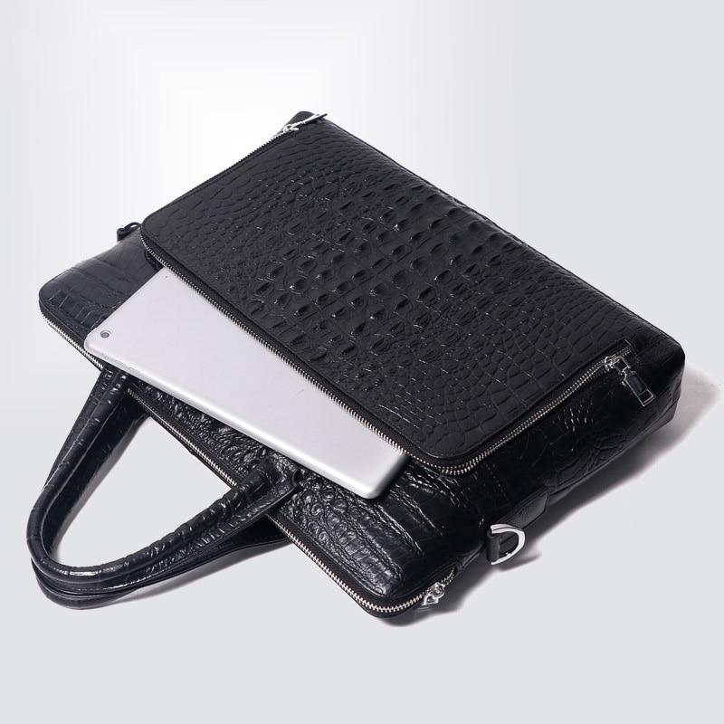 "Luxury Crocodile Pattern Men's Briefcase Genuine Leather Handbags Men Business 14"" Laptop Bag Real Cow Leather Male Shoulder Bag"