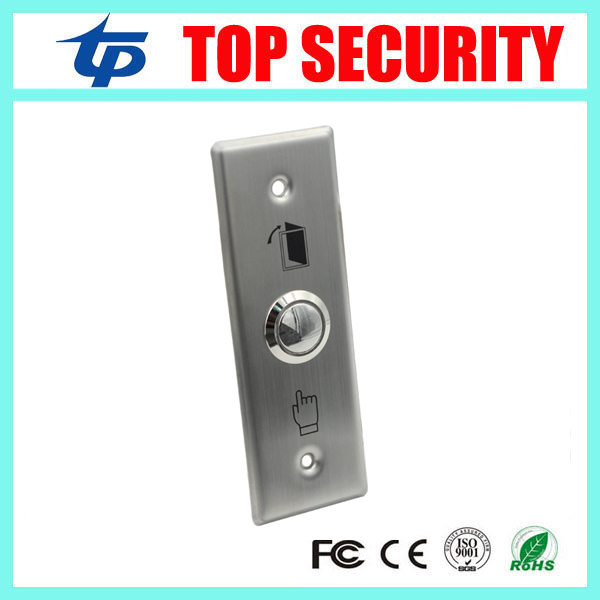 115mm long type stainless steel metal exit button exit switch for access control system push door open button free shipping stainless steel exit button led light metal exit push button no nc com door exit switch door button for access control system