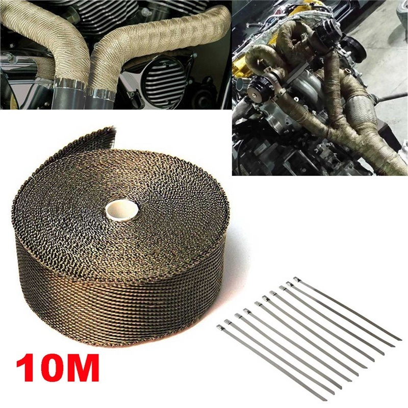 "15FT//180/""L 2/""W HEADER INTAKE TURBO EXHAUST INSULATING CHROME WHITE HEAT WRAP"