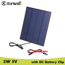 SUNWALK 5W 18V 270mAh Solar Panel Charger with DC 5521 Output Crocodile Battery Clip Solar Charging for Car Battery 12V