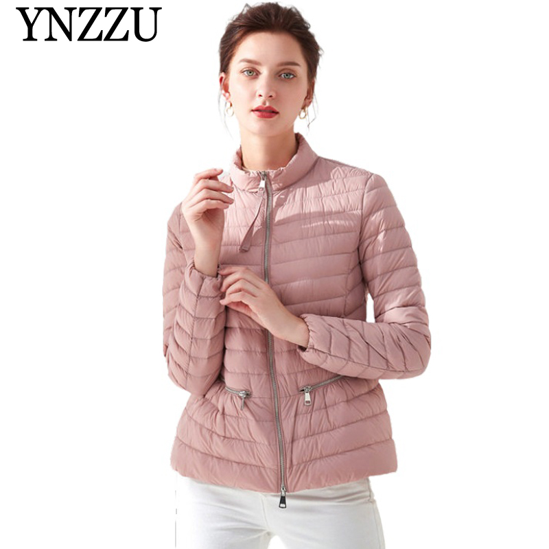 YNZZU 2019 Winter 90% White Duck   Down     Coat   Women Slim Zipper Warm Lightweight Lady   Down   jacket Casual Long sleeve Outwear YO879