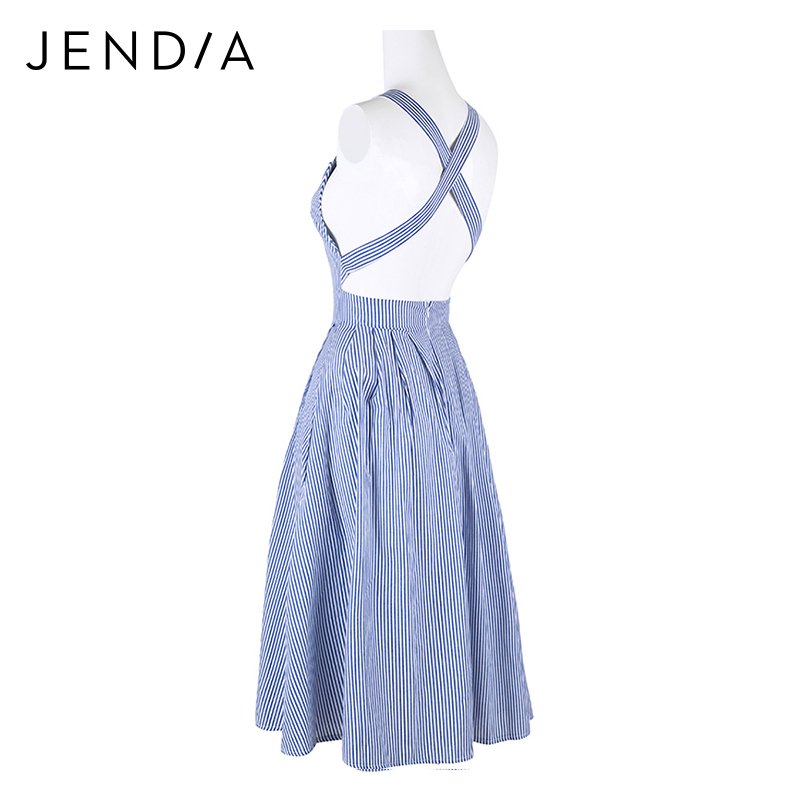 c789657614ab35 JENDIA Women Sexy Backless Midi Dresses Blue Striped Sleeveless Beach Dress  Summer Casual A Line Sundress vestidos feminina-in Dresses from Women s  Clothing ...