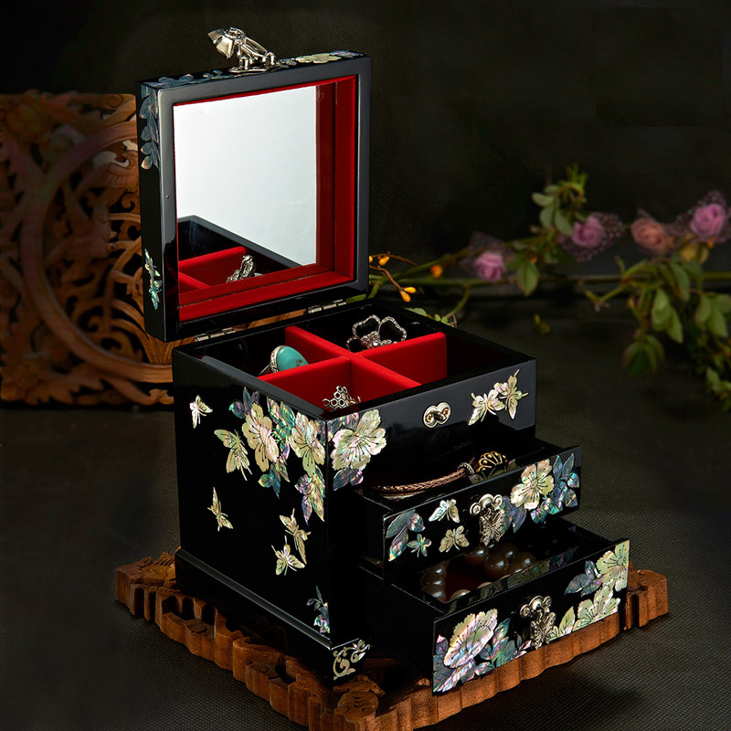 Fait à la main Abalone Shell-linlaid boîte à bijoux rangement laque Arts avec serrure 12x12x14 cm cadeau de mariage