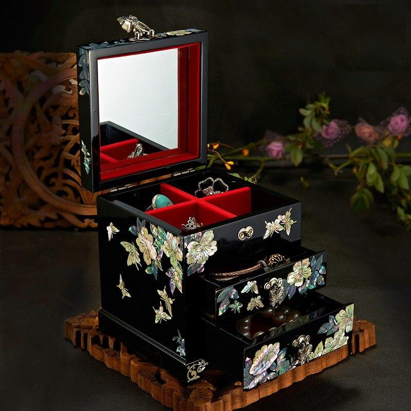 Fait à la main Nacre-linlaid Boîte à Bijoux De Stockage De Laque Laque Arts avec Serrure 12x12x14 cm Cadeau de mariage