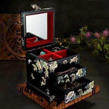 Hand Made storage box Abalone Shell-linlaid Lacquerware 12 x 12 x 14cm Wedding Gift cajas de almacenamiento коробки для хранения