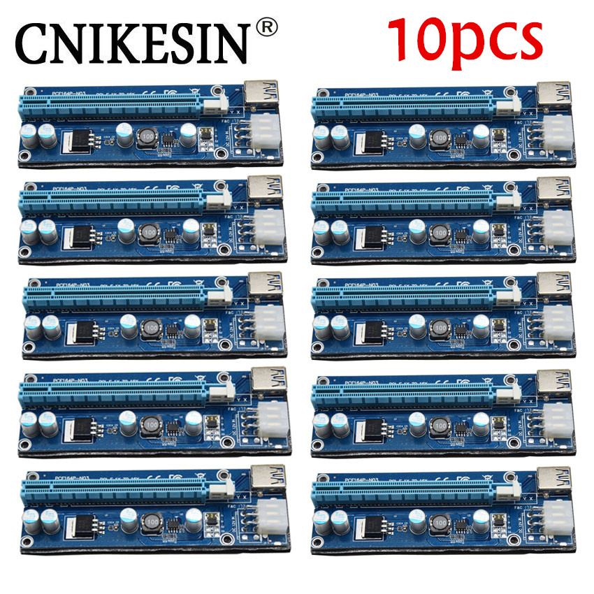 CNKESIN 10pcs 006C PC PCIe PCI-E PCI Riser Card 1x to 16x USB 3.0 Data Cable SATA to 6Pin IDE Molex Power Supply for BTC Miner M