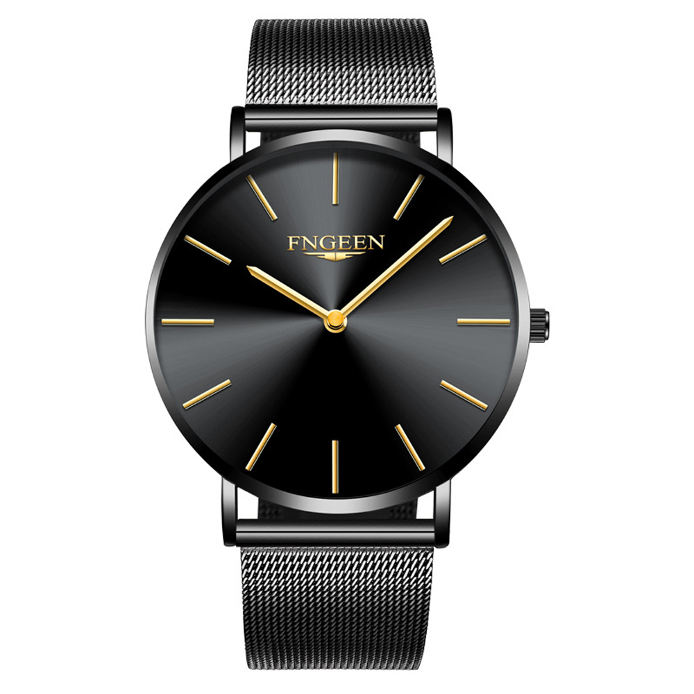FNGEEN Watch Female Hour 2018 Fashion Ultra Slim Steel Mesh Quartz Watch Women Clock Hodinky Simple Business Black Women's Watch 3