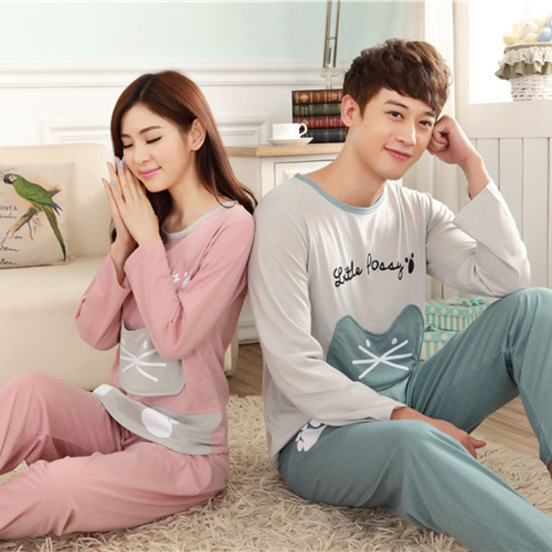 Couple   Pajamas     Sets   Cute Cat Letter Printed Patchwork Autumn Winter Pyjamas Comfy Milk Silk Fabric Long Sleeve Women Sleepwear