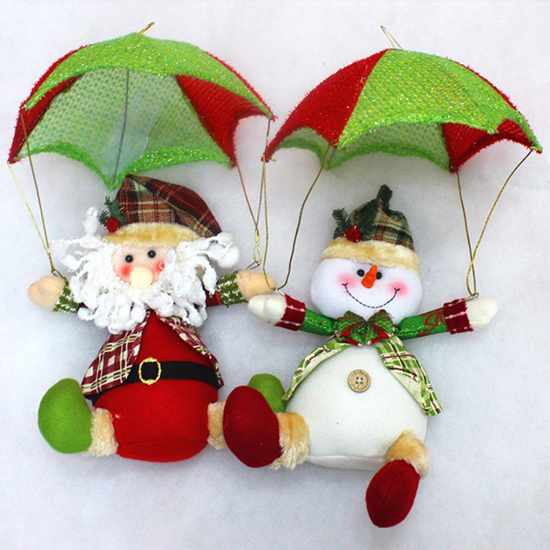 Christmas Doll Parachute Cartoon Fabric Santa Claus Snowman Christmas Decoration Pendant Gift Home Party Decora