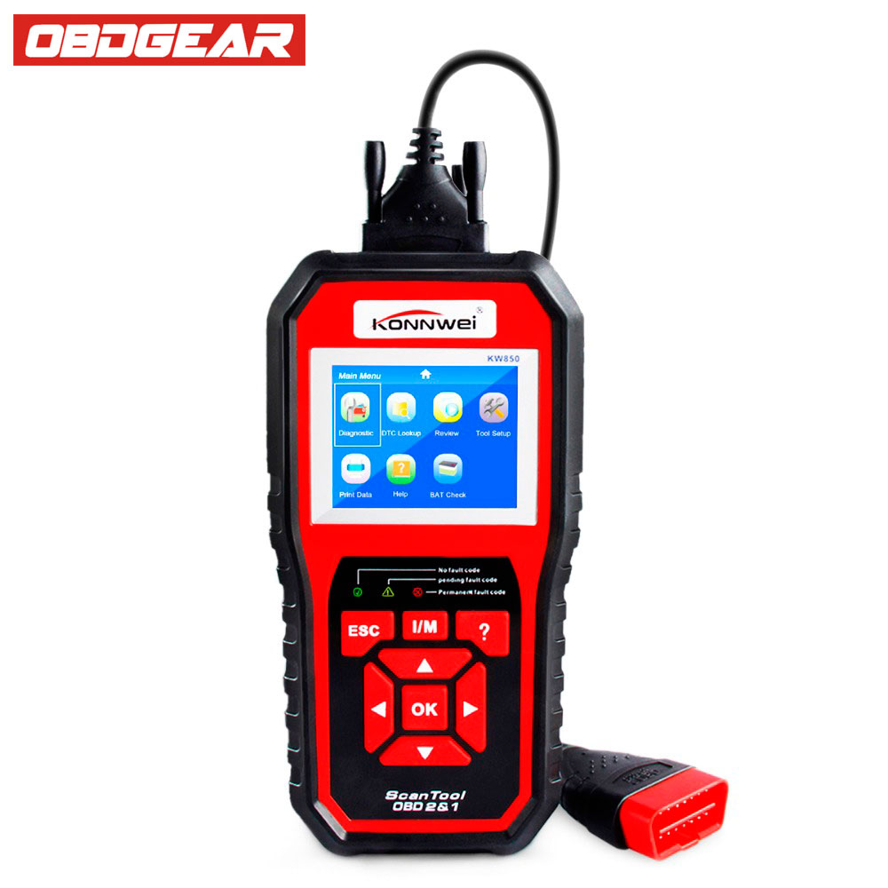 ODB OBD2 Scanner KONNWEI KW850 Automotive Diagnosis in Portuguese Multi-languages Car Diagnostic Tool in Russian better AL519 new version v2 13 ktag k tag firmware v6 070 ecu programming tool with unlimited token scanner for car diagnosis