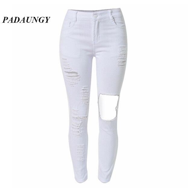 Bon PADAUNGY Blanc Déchiré Jeans Pour Femmes Taille Haute Déchiré Denim Pantalon  Skinny Pantalon Trou Pantalones Vaqueros
