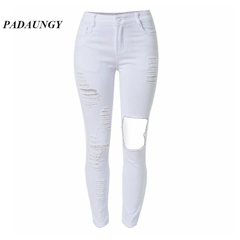PADAUNGY White Ripped Jeans For Women High Waist Torn Denim Pants Skinny Trousers Hole Pantalones Vaqueros Jean Taille Haute skinny slim mid waist ripped jeans slim pants for women scratched jean femme pencil trousers taille haute 2016
