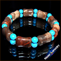 Wholesale 1pcs NATURAL PICASSO JASPER Blue Turquoise STONE BEAD BRACELET STRETCH BANGLE Free shipping