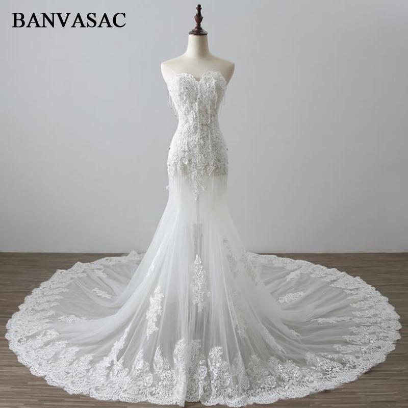 BANVASAC 2017 Nieuwe Mermaid Elegante Borduurwerk Strapless - Trouwjurken - Foto 1