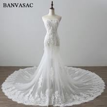BANVASAC 2017 Baru Mermaid Elegant Bordir Strapless Wedding Dresses Tanpa Lengan Satin Kristal Pengadilan Kereta Lace Bridal Gowns