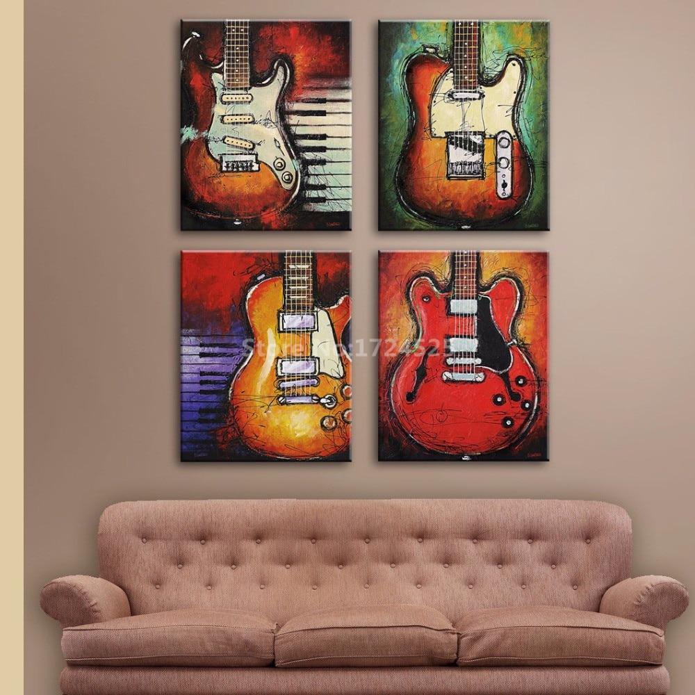 CLSTROSE 4 κομμάτι Wall Art κιθάρα Εικόνα - Διακόσμηση σπιτιού - Φωτογραφία 2