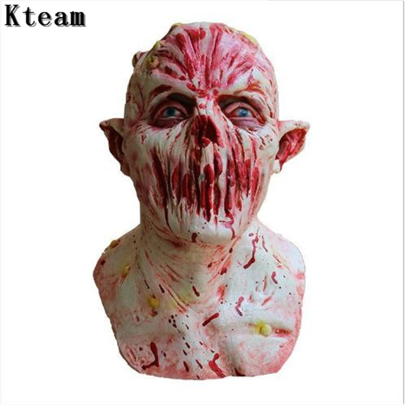 Nouveau Halloween adulte masque Zombie masque Latex sanglant effrayant extrêmement dégueulasse masque complet Costume partie Cosplay jouet casquette casque