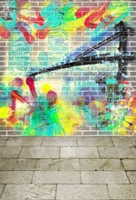 Laeacco Grunge Painted Graffiti Brick wall Floor Baby Photography Backgrounds Customized Photographic Backdrops For Photo Studio