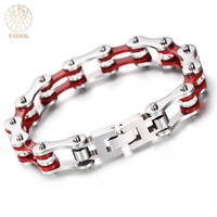 VCOOL Wholesale Biker Stainless Steel Bracelet For Men Clean Crystal Sports Jewelry Motorcycle Chain Link Rock