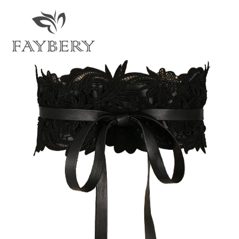 Fashion Black Lace Belts For Women Luxury Brand Designer Women Belt For Wedding Dress Wide Female Waistband Belts Cummerbunds