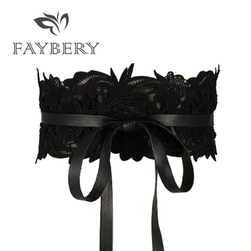 Fashion Black Lace Belts for Women Luxury Brand Designer Belt Wedding Dress Wide Female Waistband Cummerbunds