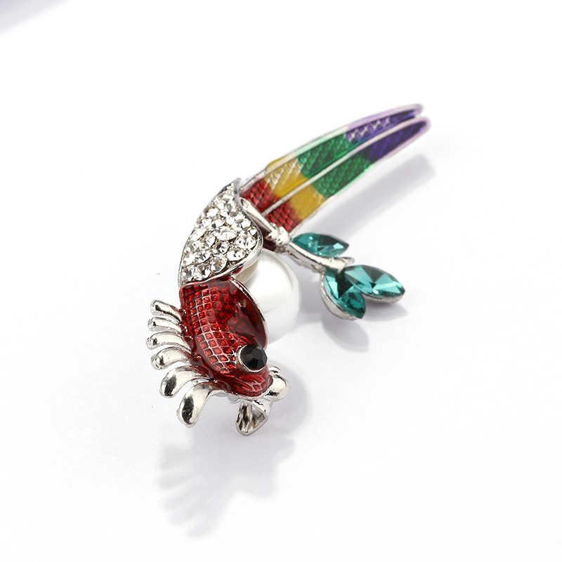 Amorcome Parrot Bros untuk Wanita Pesta Perhiasan Colorful Enamel Mutiara Kristal Hewan Burung Bros Wanita Aksesoris