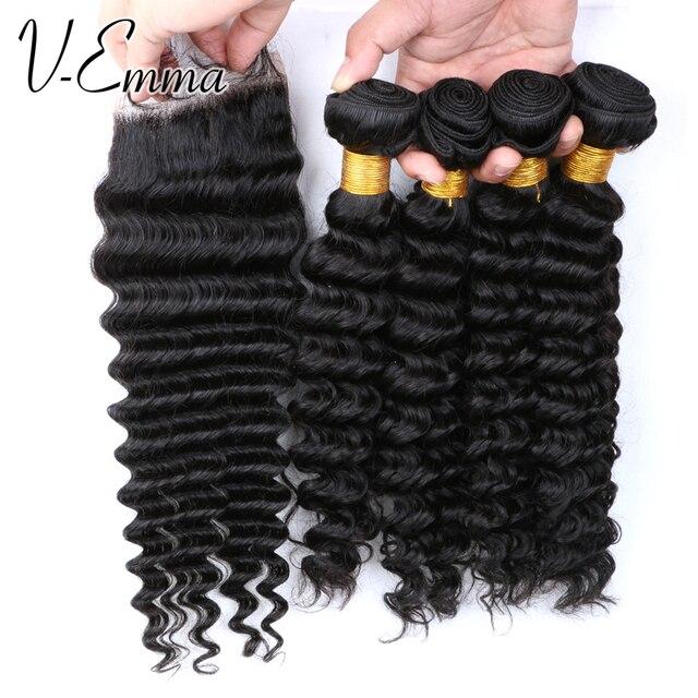 7A peruano profunda encaracolado trama do cabelo com encerramento peruano virgem cabelo com encerramento onda profunda do cabelo humano 4 pacotes com fecho de rendas