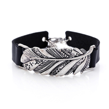 2018 new arrival designed leather bracelet cuff bangles leaf silver antic Jewelry products wholesale woman