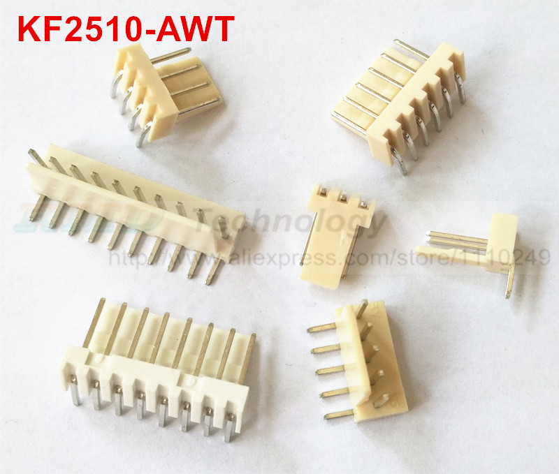 50pcs/lot KF2510 KF2510-AWT male connector right angle Pin header 2.54mm 2 3 4 5 6 7 8 9 10pin free shipping 50pcs lot kf2510 kf2510 4y female connector housing 2 54mm 4pin free shipping