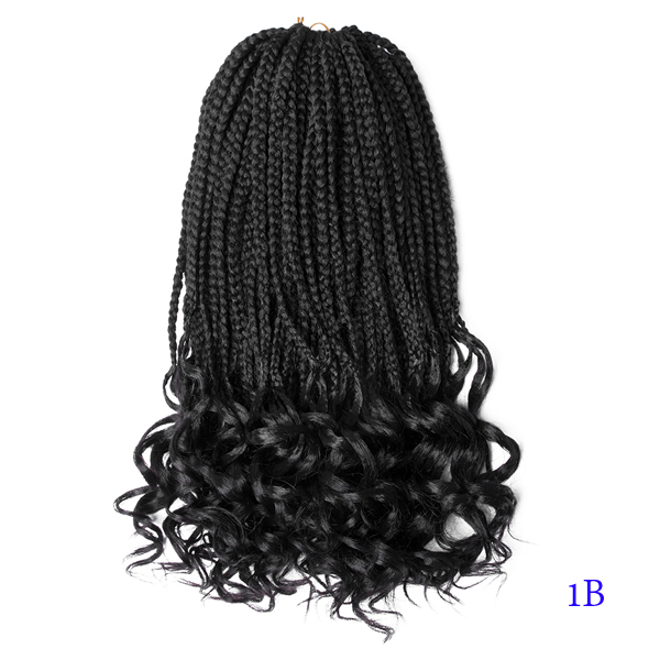 Crochet Hair Box Braids Curly 18 Inches With Ends Synthetic Hair 22 Strands  Braiding Hair Extensions