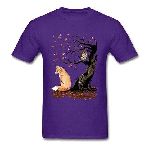 Winds Of Autumn Tee Shirt Art Design T-shirt Men Tshirts Owl & Fox Print Tops Tees Birthday Gift Clothes Custom Cotton Sweaters Karachi