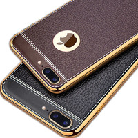 KRY Litchi Grain Luxury Plating Phone Cases For IPhone 6 Case 5 5s TPU Silicone Cover