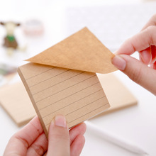Retro Simple Kraft paper Horizontal line stickers Sticky Notes decorative Memo Pad Paper Sticker DIY stickers Fridge N times