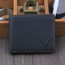Luruxy haute qualité Multi fonction en cuir véritable 2 fois Vintage Style V lettre hommes portefeuilles en vente