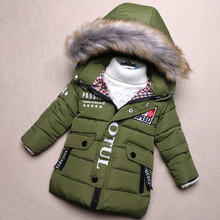 Children Winter Clothing 100 Warm Boys Jackets Thick Cotton Hooded Jacket Fashion Medal Clothes Baby Kids