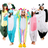 Rainbow Unicorn Winter Flannel Anime Pijama Cartoon Cosplay Warm Sleepwear Women Cute Animal Pajamas Unisex Adult