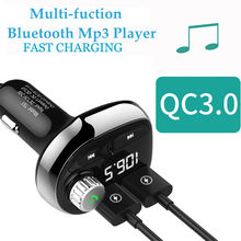 QC3.0 Charger Bluetooth Car Kit Handsfree Wireless FM Transmitter LCD MP3 USB TF Card Player Dual USB Power Adapter Voltage Show(China)