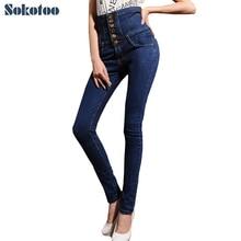 Sokotoo женские высокой талией джинсы тощий эластичный деним карандаш брюки Плюс большой размер кружева до кнопки длинные брюки