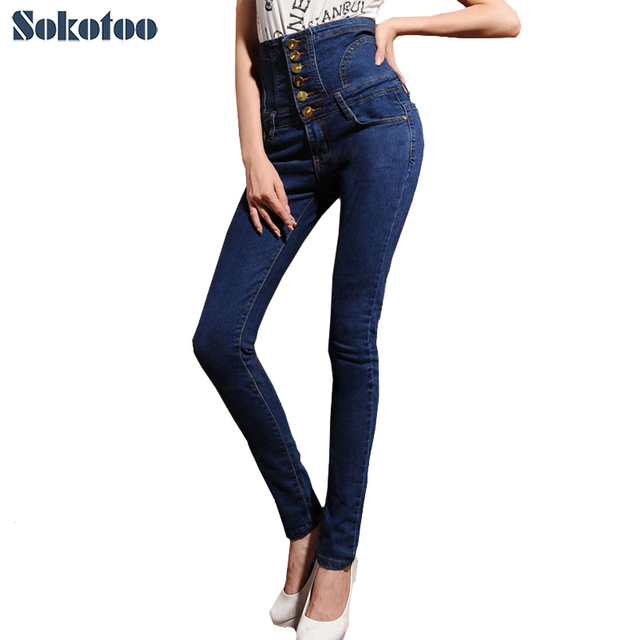 Sokotoo Women's winter warm fleece or unlined high waist jeans Plus large size lace-up buttons skinny elastic denim pencil pants