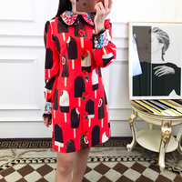 2019 spring new shelves Fashion Casual Straight Turn down Collar Ice Cream Print full Sleeve Sequined Mini Party Dress