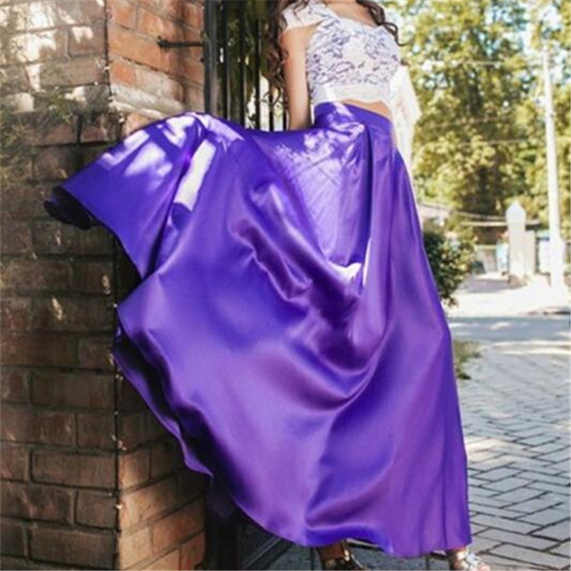 188199a9239 WBCTW Satin Woman Skirts Soild Casual High Waist Elegant Autumn Spring Boho Skirts  Long Maxi Skirts For Women 6XL 7XL Plus Size