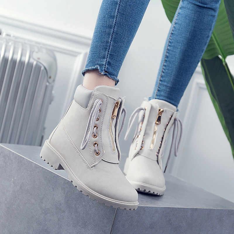 MORAZORA 2019 yeni moda yarım çizmeler kadınlar için yuvarlak ayak dantel kadar zip rahat serseri ayakkabı sonbahar kış çizmeler kadın büyük boyutu 41
