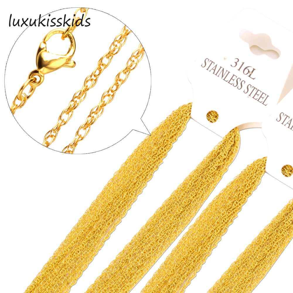 LUXUKISSKIDS 1mm Width Stainless Steel Chain Necklace,10pcs/lot Fashion Jewelry Chains,Top quality
