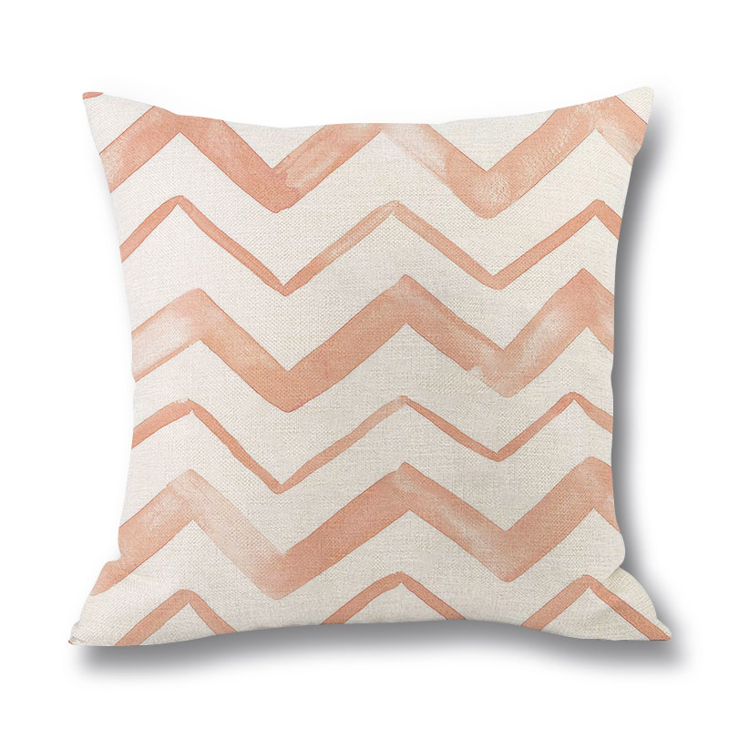 Pink Flamingo Cushion Cover Watercolor Style Feather Balloon Wave Print Linen Pillowcase for Sofa Bedroom Decorative Home Decor in Cushion Cover from Home Garden