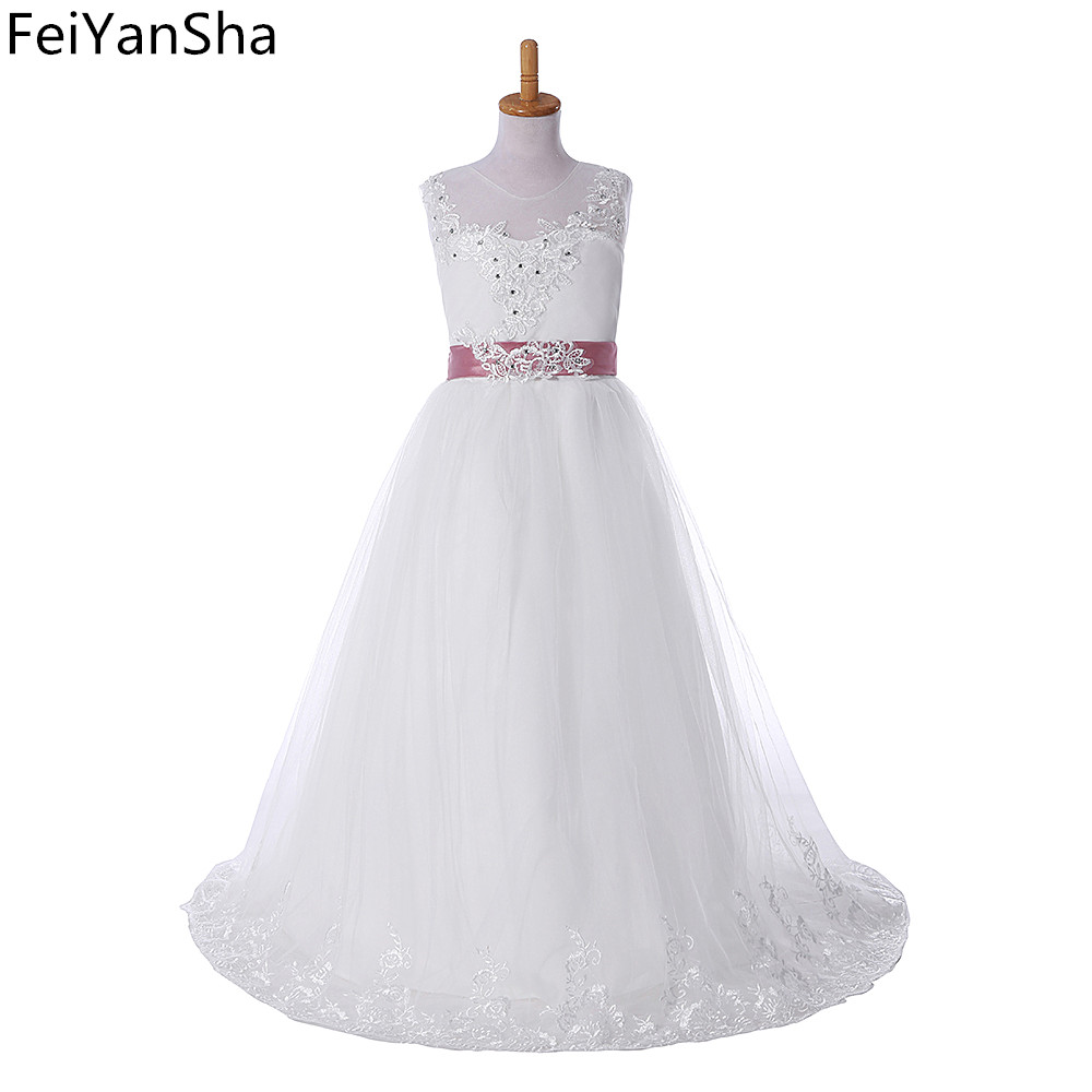 FeiYanSha Kids Girls Wedding Flower Girl Dress Princess Party Pageant Formal Dress Crossed Back Sleeveless Lace Tulle Dress 2-14 hearted shape back summer new princess girl s lace christening white big bowknot mesh sleeveless show performance formal dress