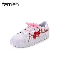 Mode Broderie Rose mocassins femmes Blanc casual chaussures Femme doux chaussures de marche espadrilles mignon étudiants chaussures Tufli Tenis