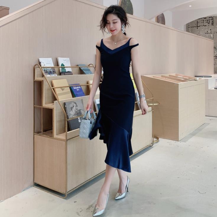 Bandage Derss 2019 été femmes robe de sirène sans bretelles Sexy irrégulière trompette robe Midi robes de soirée Cocktail robes