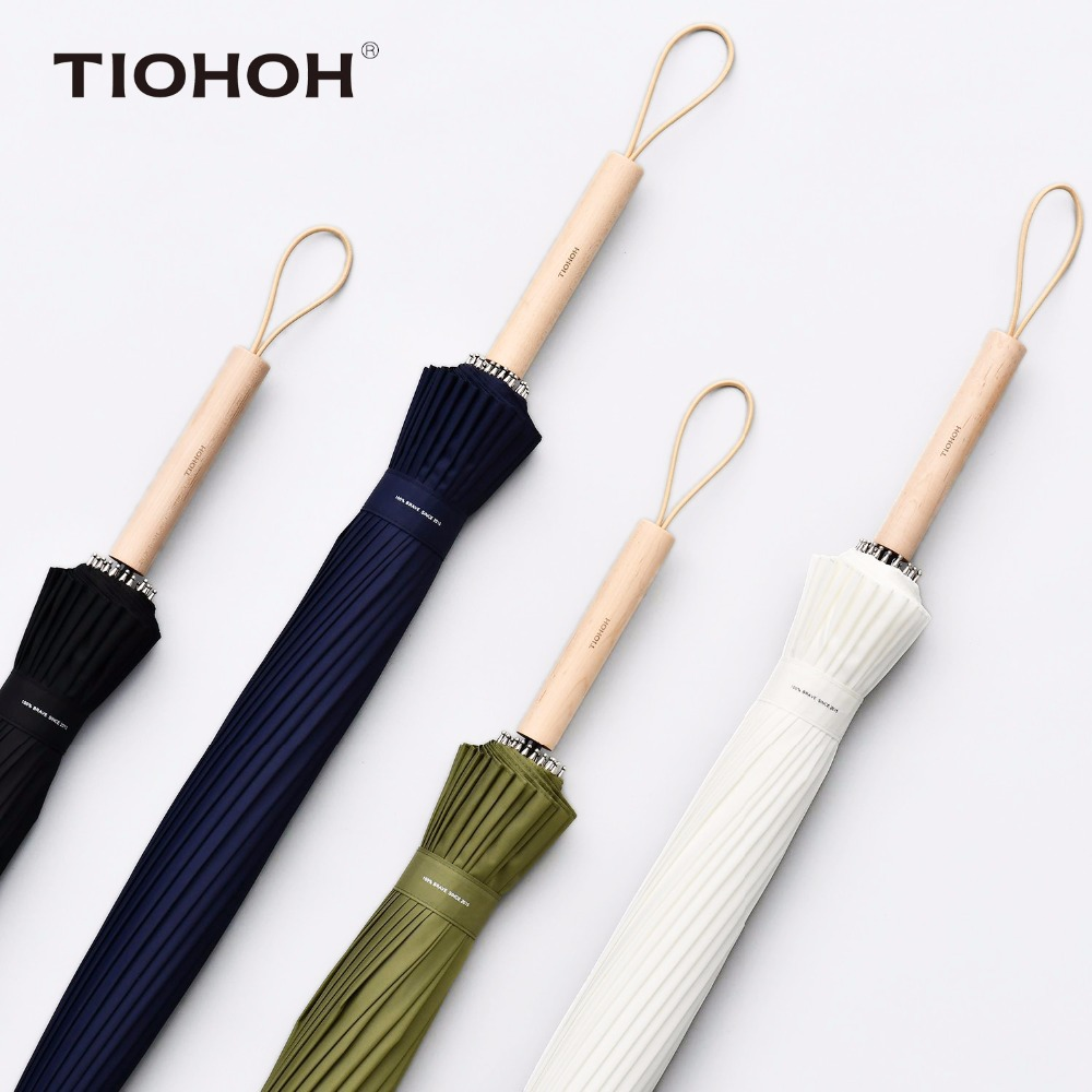 Tiohoh 24K Maple Umbrella Rain Women Men Solid Color Telfon Pongee Cloth Waterproof Long Handle Umbrellas Windproof Paraguas